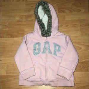 Gap Logo Sherpa-Lined, Zip Faux-Fur Hoodie